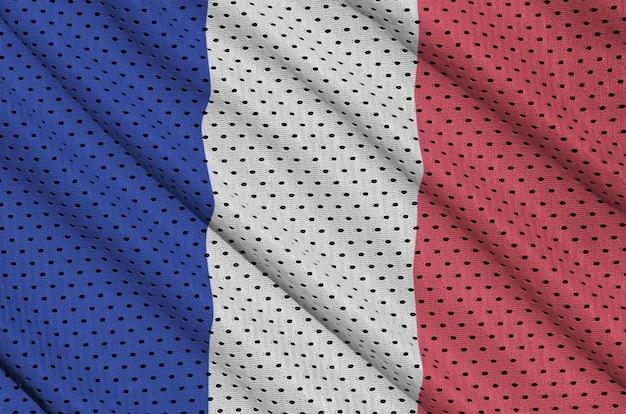 Flaga francji wydrukowana na siatce z nylonu poliestrowego