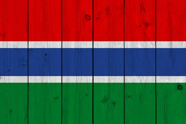 Flaga gambii malowane na starej desce