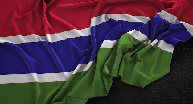 Flaga gambii pomarszczony na ciemnym tle renderowania 3d