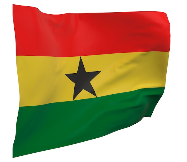 Flaga ghany na białym tle. macha sztandarem. flaga narodowa ghany