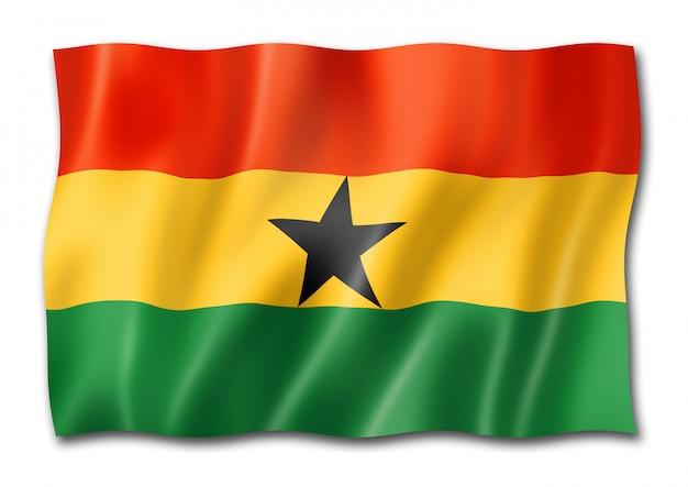Flaga ghany na białym tle