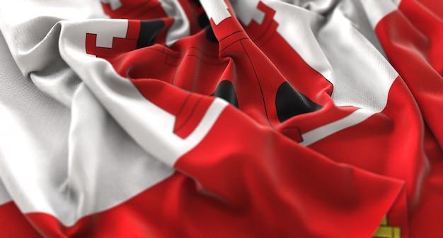 Flaga gibraltaru ruffled pięknie macha makro close-up shot