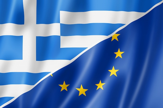 Flaga grecji i europy
