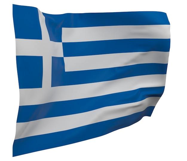Flaga grecji na białym tle. macha sztandarem. flaga narodowa grecji