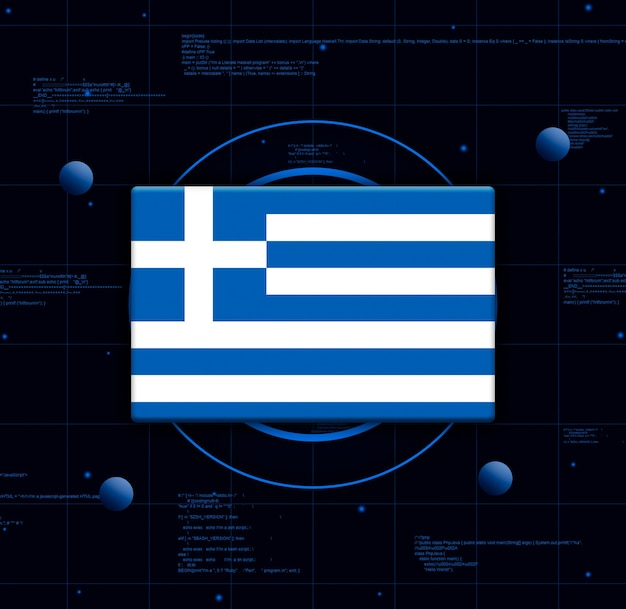 Flaga grecji z realistycznymi elementami technologii, renderowania 3d