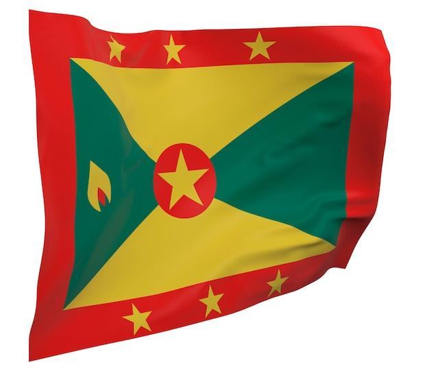 Flaga grenady na białym tle. macha sztandarem. flaga narodowa grenady