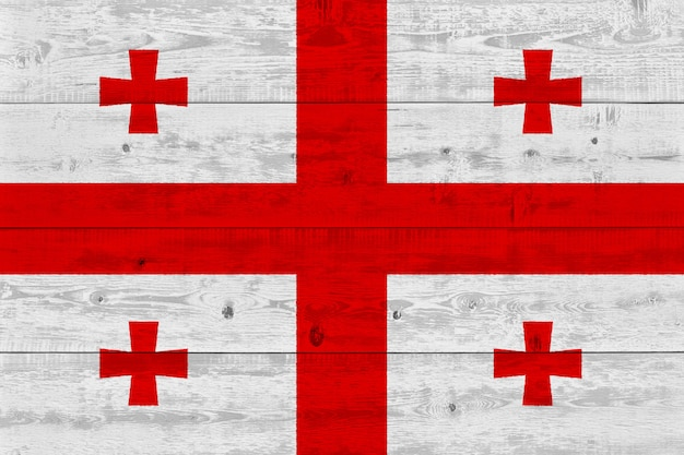 Flaga gruzji malowane na starej desce