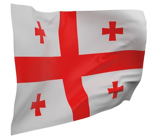 Flaga gruzji na białym tle. macha sztandarem. flaga narodowa gruzji