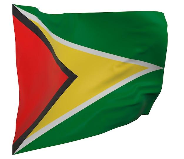 Flaga gujany na białym tle. macha sztandarem. flaga narodowa gujany