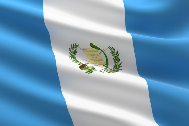Flaga gwatemali. 3d ilustracja macha flagą grecką.