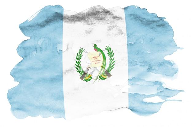 Flaga gwatemali jest przedstawiona w płynnym stylu akwareli na białym tle