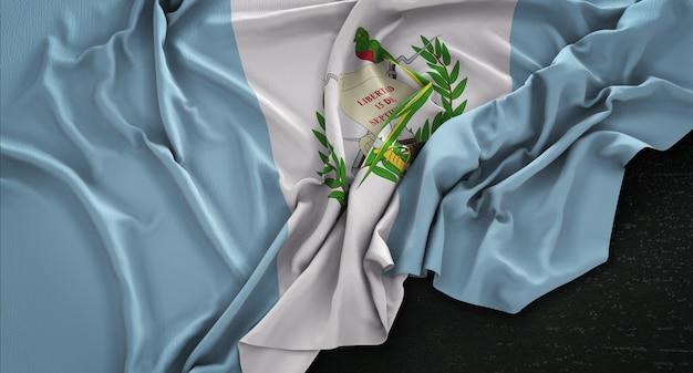 Flaga gwatemali zmarszczki na ciemnym tle renderowania 3d