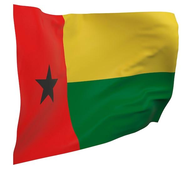 Flaga gwinei bissau na białym tle. macha sztandarem. flaga narodowa gwinei bissau
