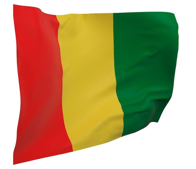 Flaga gwinei na białym tle. macha sztandarem. flaga narodowa gwinei