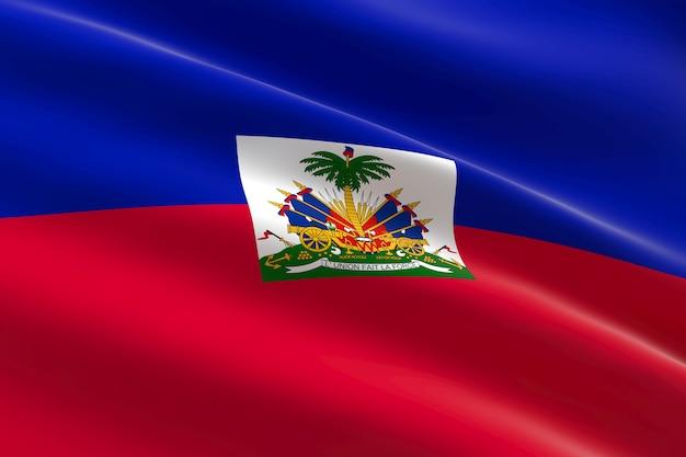 Flaga haiti. 3d ilustracja macha flagą haiti