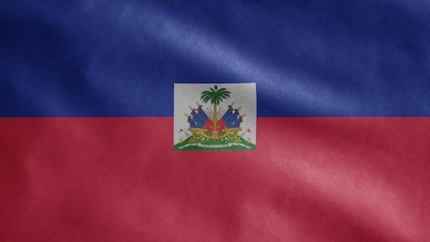 Flaga haiti na wietrze. zamknij się z haiti banner dmuchanie, miękki i gładki jedwab
