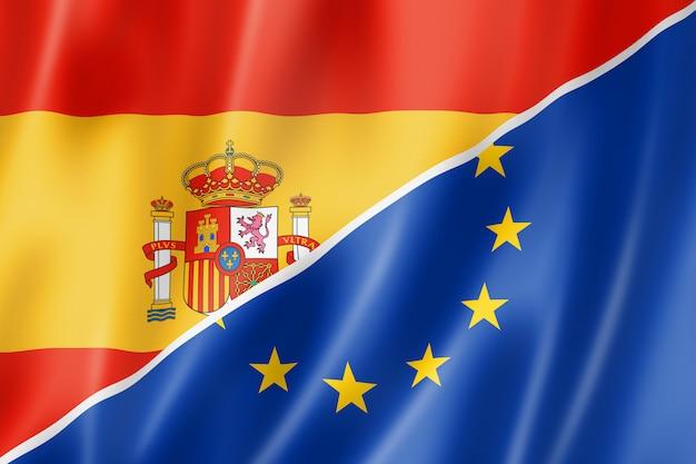 Flaga hiszpanii i europy