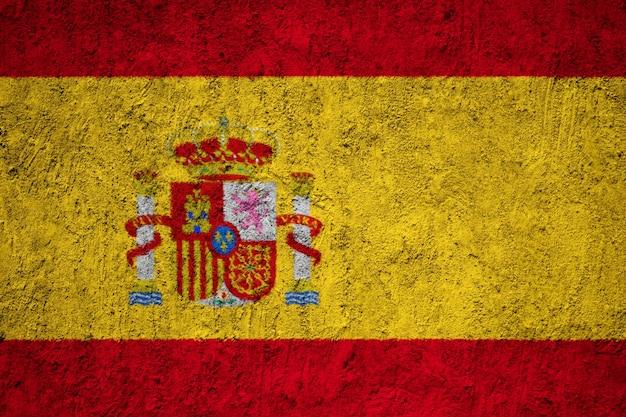 Flaga hiszpanii namalowane na ścianie grunge