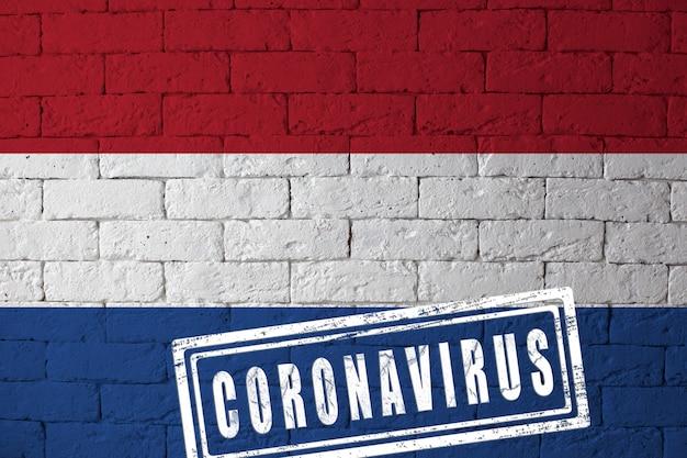 Flaga holandii lub holandii o oryginalnych proporcjach. opieczętowane koronawirusem. cegła ściana tekstur. koncepcja wirusa koronowego. na skraju pandemii covid-19 lub 2019-ncov.
