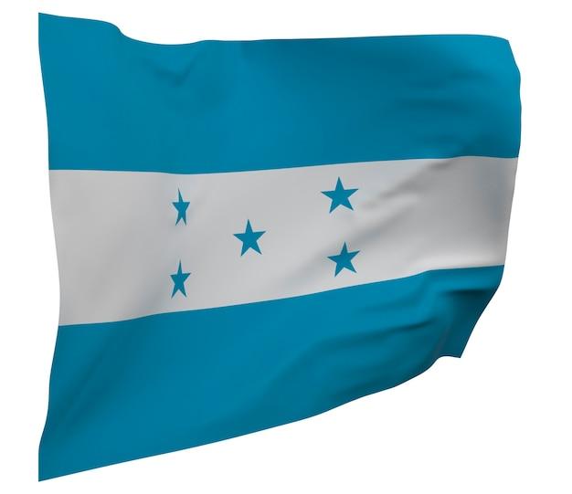 Flaga hondurasu na białym tle. macha sztandarem. flaga narodowa hondurasu