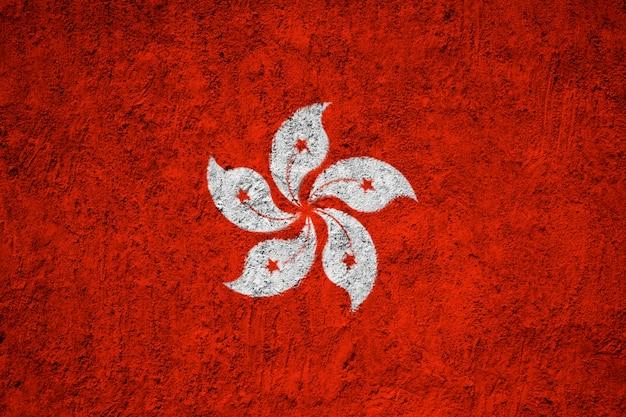 Flaga hongkongu namalowane na ścianie grunge
