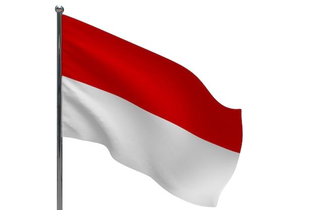 Flaga indonezji na słupie. maszt metalowy. flaga narodowa indonezji 3d ilustracja na białym tle