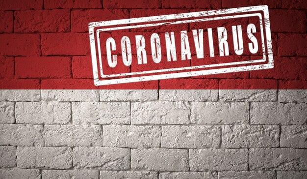 Flaga indonezji o oryginalnych proporcjach. opieczętowane koronawirusem. cegła ściana tekstur. koncepcja wirusa koronowego. na skraju pandemii covid-19 lub 2019-ncov.
