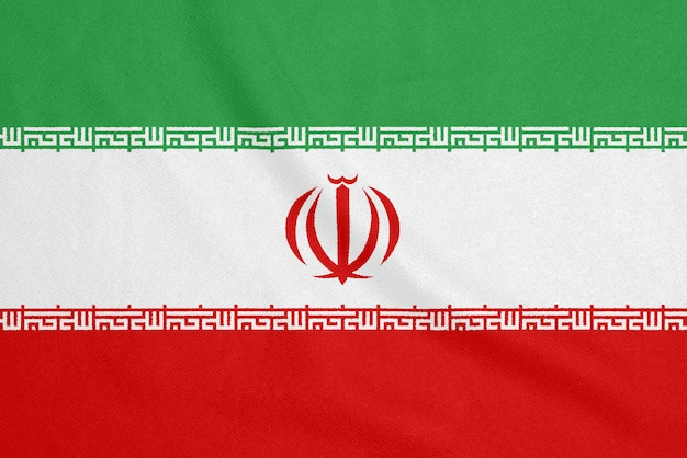 Flaga iranu na teksturowanej tkaninie