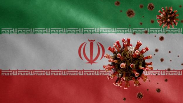 Flaga iranu powiewająca z wybuchem koronawirusa infekującym układ oddechowy jako groźna grypa