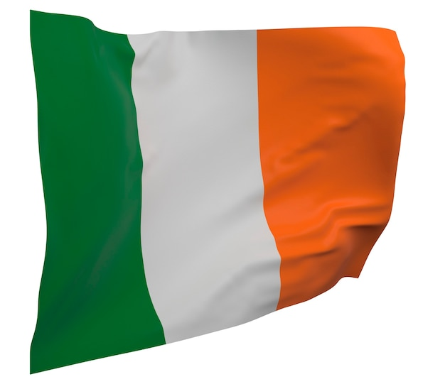 Flaga irlandii na białym tle. macha sztandarem. flaga narodowa irlandii