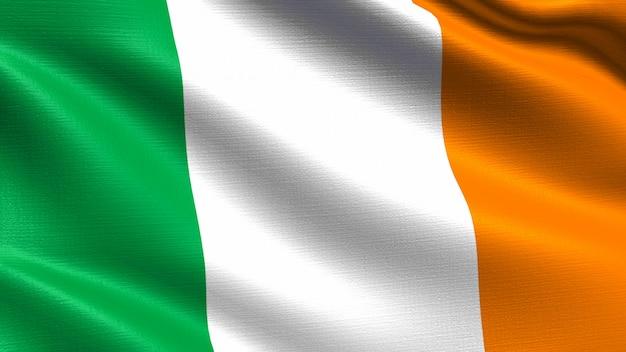 Flaga irlandii, z fakturą tkaniny macha