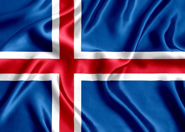 Flaga islandii jedwabne tło szczegół