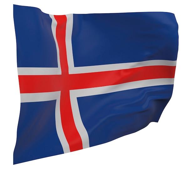 Flaga islandii na białym tle. macha sztandarem. flaga narodowa islandii