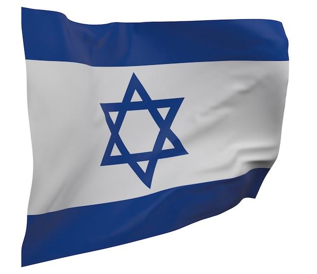 Flaga izraela na białym tle. macha sztandarem. flaga narodowa izraela