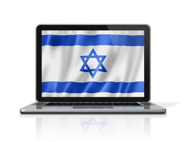 Flaga izraela na ekranie laptopa na białym tle. renderowanie 3d ilustracji.