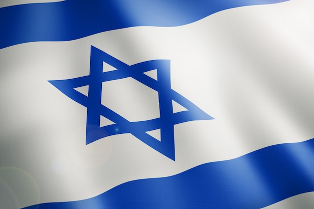 Flaga izraela z niebieskimi liniami i niebieską gwiazdą