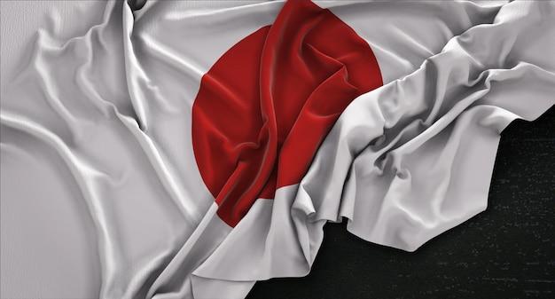 Flaga japonii pomarszczony na ciemnym tle renderowania 3d