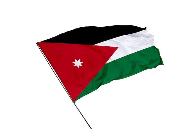 Flaga jordanii na białym tle