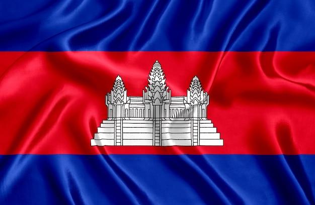 Flaga kambodży jedwabiu szczegół tło