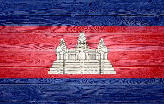 Flaga kambodży malowane na tle starego drewna deski