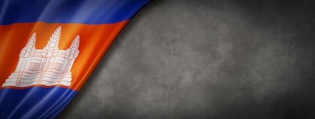Flaga kambodży na ścianie betonowej
