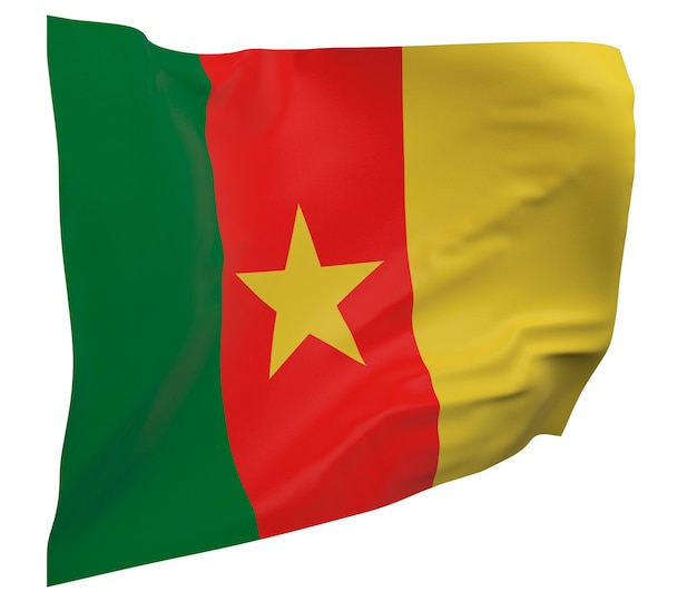 Flaga kamerunu na białym tle. macha sztandarem. flaga narodowa kamerunu
