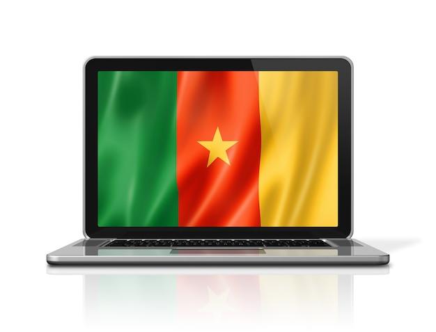 Flaga kamerunu na ekranie laptopa na białym tle. renderowanie 3d ilustracji.