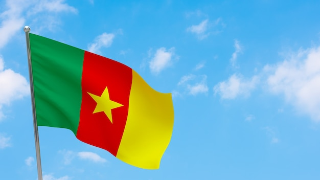Flaga kamerunu na słupie. niebieskie niebo. flaga narodowa kamerunu