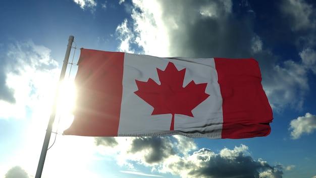 Flaga kanady macha w wietrzny dzień. czerwony i biały, kolory liścia klonu. renderowania 3d.