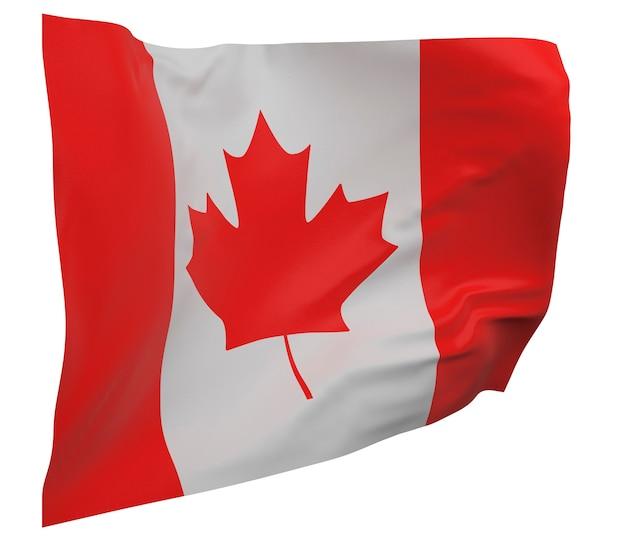 Flaga kanady na białym tle. macha sztandarem. flaga narodowa kanady