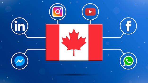 Flaga kanady z logo mediów społecznościowych 3d