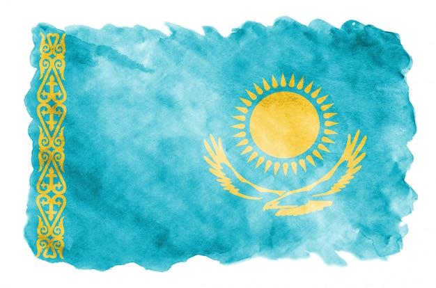 Flaga kazachstanu jest przedstawiona w płynnym stylu akwareli na białym tle