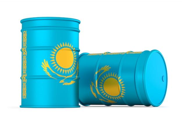 Flaga kazachstanu stylu beczki beczki na białym tle