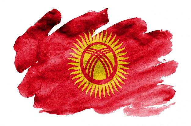 Flaga kirgistanu jest przedstawiona w płynnym stylu akwareli na białym tle